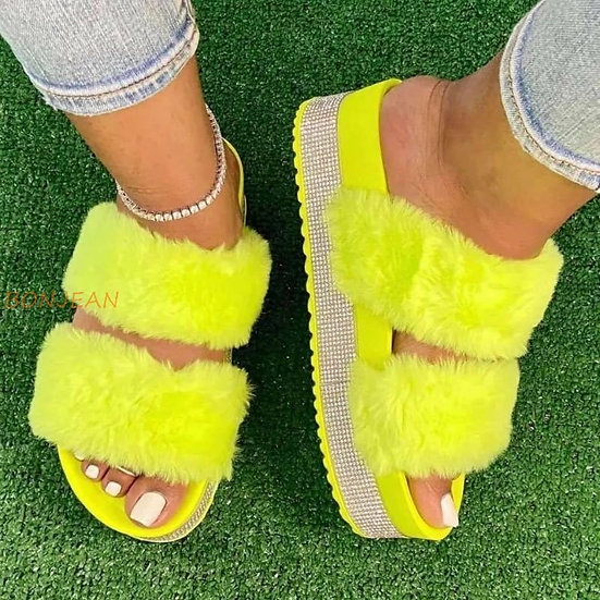 Womens Fur Rhinestone Platform Slides