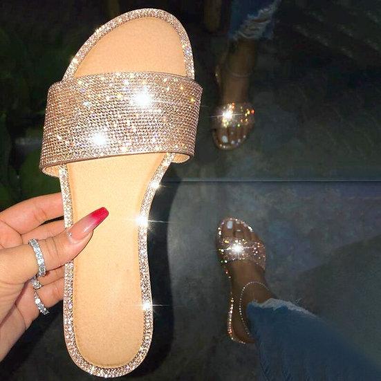 Glitter Flat Soft Bling  Slides