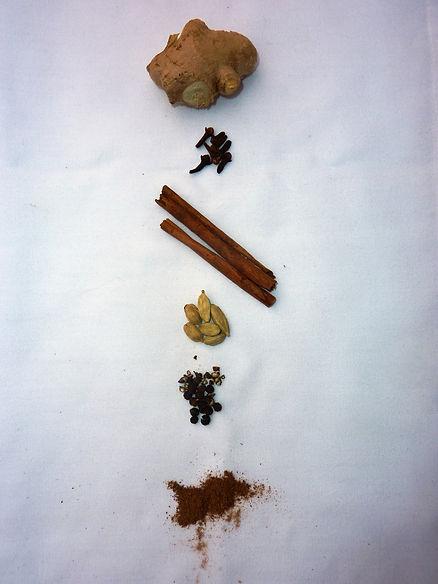 Ginger Clove Cinnamon Caramom Black pepper Nutmeg