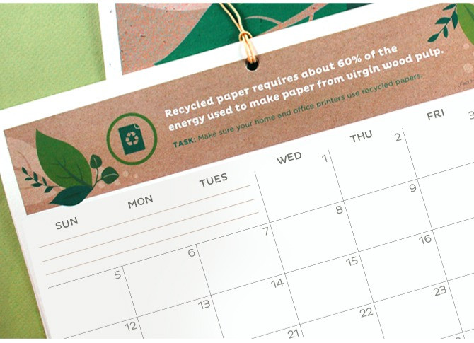 2020 Eco Tips Free Printable Calendar