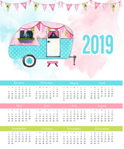 GLAMPING ONE PAGE CALENDAR