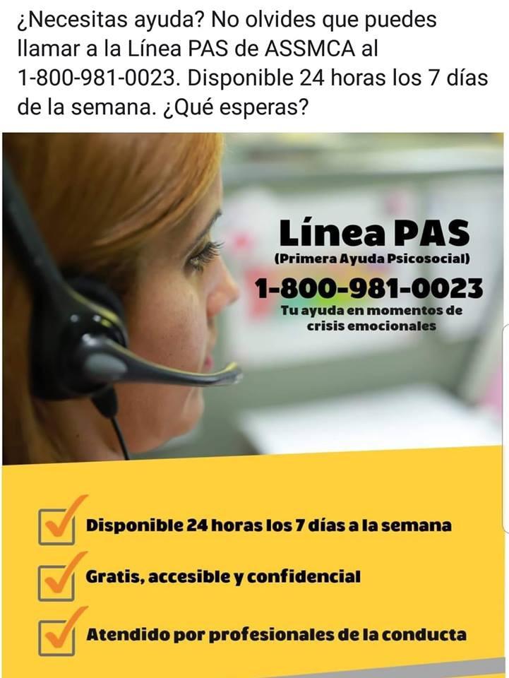 Línea PAS 1-800-981-0023 y TDD 1-888-672-7622