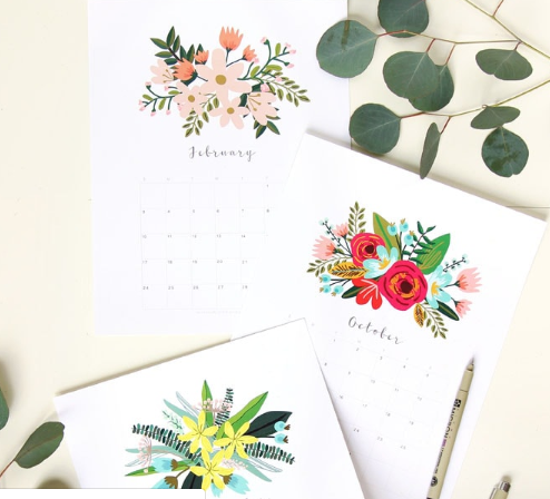 2019 floral calendar and monthly planners to print
