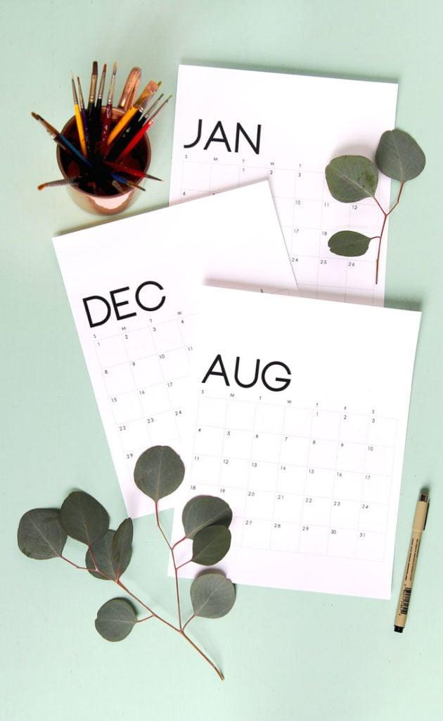 Modern Minimal Style Printable 2020 Calendar