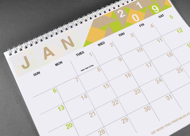 2019 Geometric Free Printable Calendar