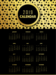 Black & Golden 2019 Pattern Calendar Designs