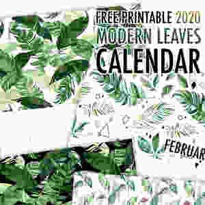 2020 Calendar Modern Leaves