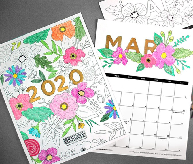 2020 Coloring Book Free Printable Calendar
