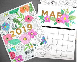 2019 Coloring Book Free Printable Calendar