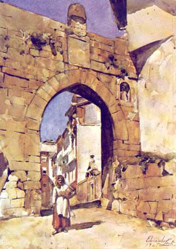 Porta do Soar, em 1925, segundo aguarela