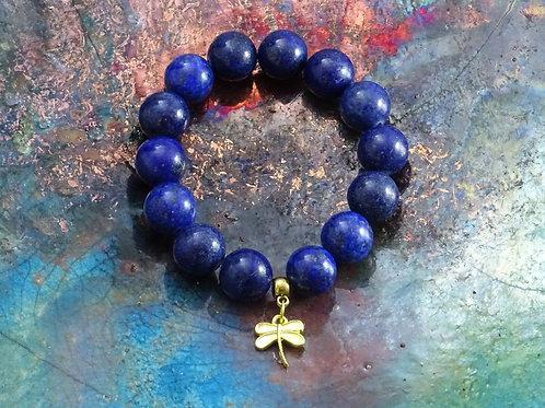 Lapis lazuli armband met libelle hanger