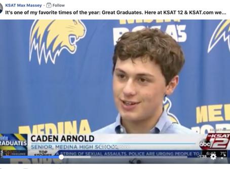 San Antonio News Station Recognizes Livestock Exhibitor, Caden Arnold, in Great Grads Segment