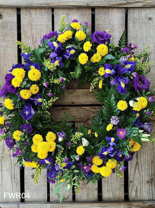 Blue and Yellow iris wreath
