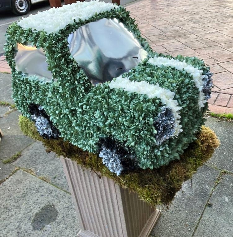 vintage mini car funeral tribute