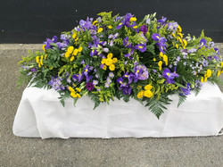 6ft purple iris and yellow coffin spray