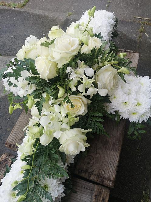 Elegant Rose and Orchid Casket Cross