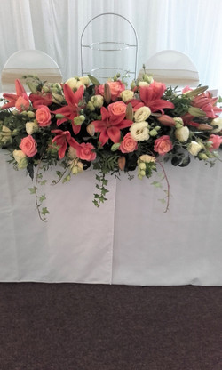 head table wedding flower display
