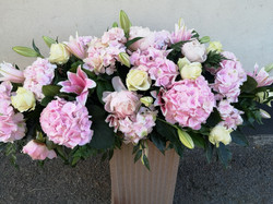 pink hydrangea and lily large coffin spr