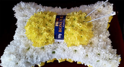 knitting floral funeral tribute