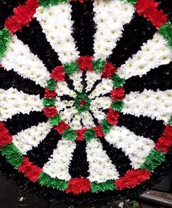 dart board flower tribute