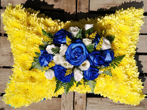 Blue Rose and Yellow Pillow