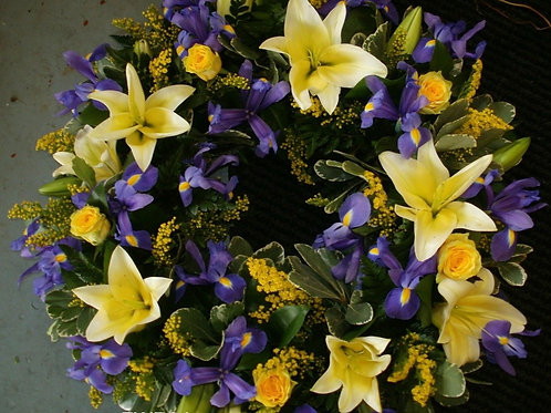 Blue and Yellow lily wreath