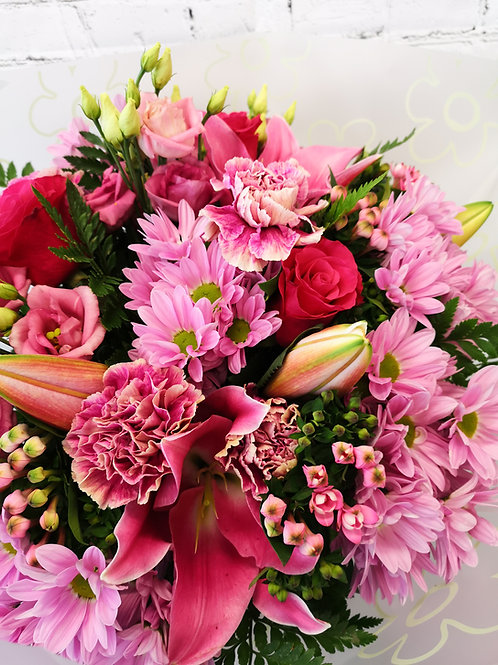Vibrant Pink Lily and Roses Posy