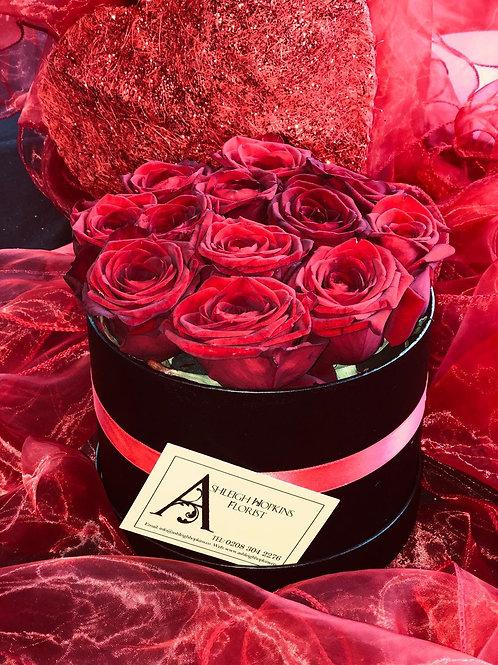 Dozen Red Roses Hatbox