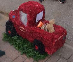 red truck funeral flower tribute Ashleig