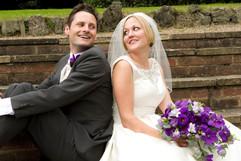 purple wedding bride bouquet. bride and