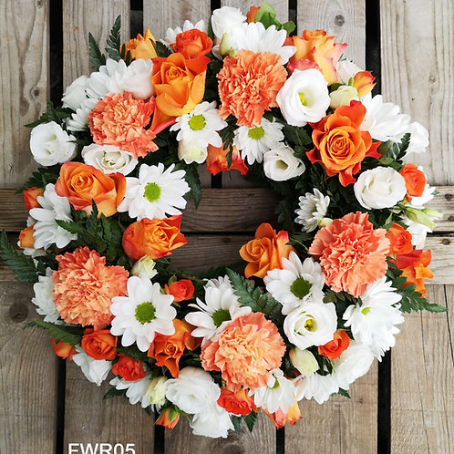 Orange and white wreath