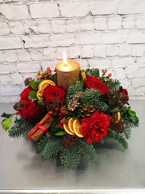Luxury Fresh Red Roses & Carnations Centrepiece