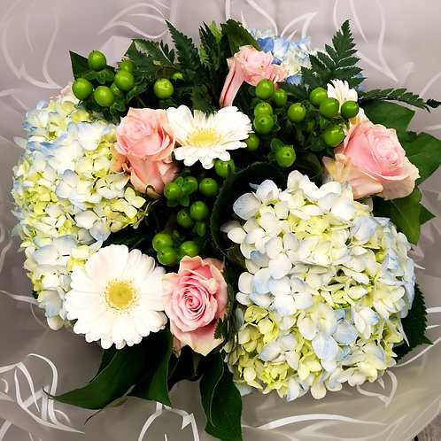 Blue Hydrangeas and Pink roses