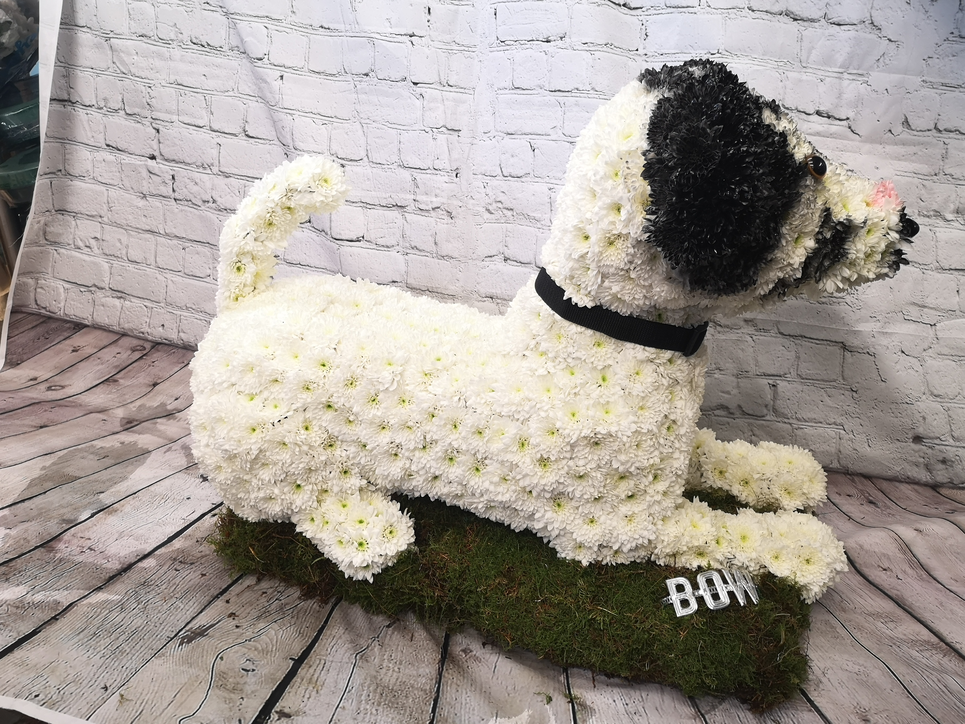 jack Russel floral funeral tribute