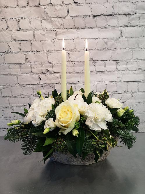 Luxury White Apples & Fresh Roses Centrepiece