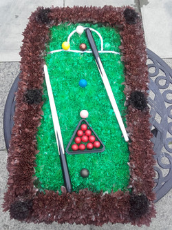 snooker table funeral flower tribute