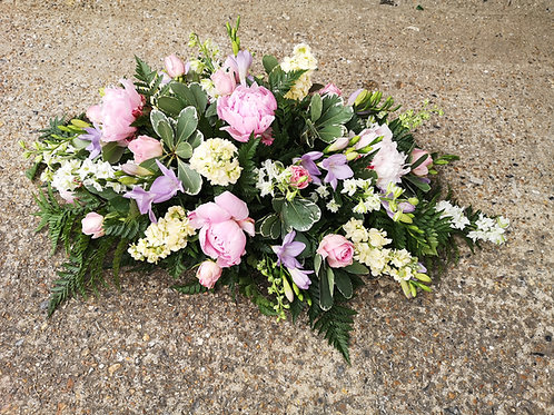 Pink Peony and Lilac Funeral Spray