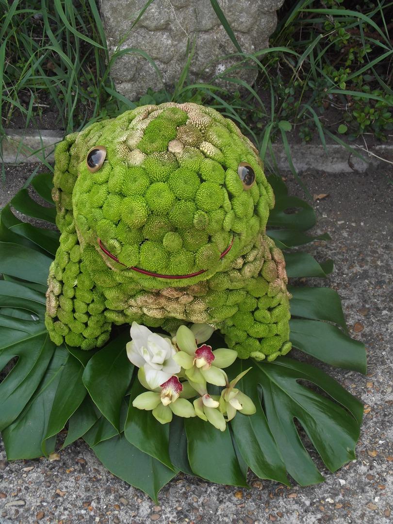 Frog funeral flower tribute