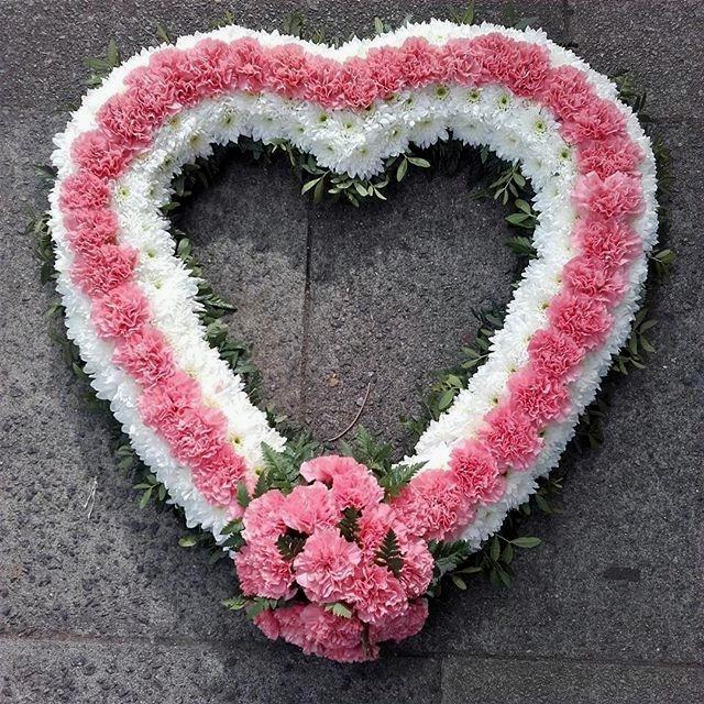 pink open heart funeral tribute