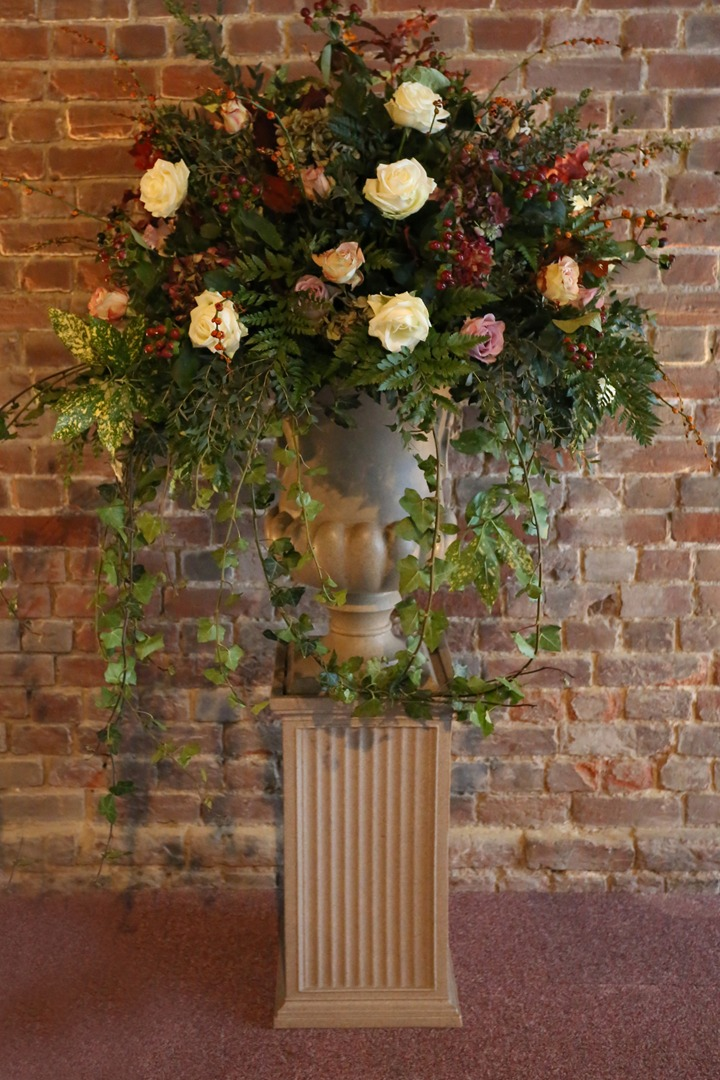 large floral display urn