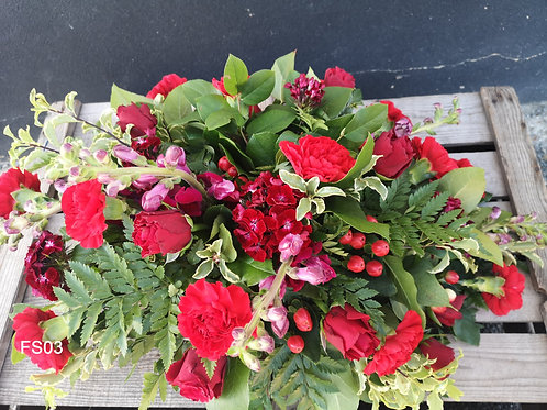 Red Roses and Carnations Spray
