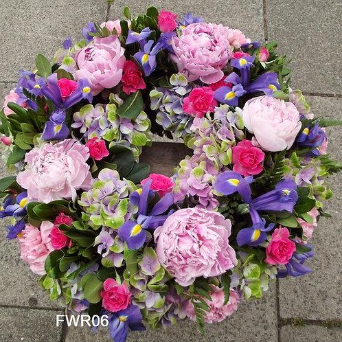 Peonies and iris summer wreath