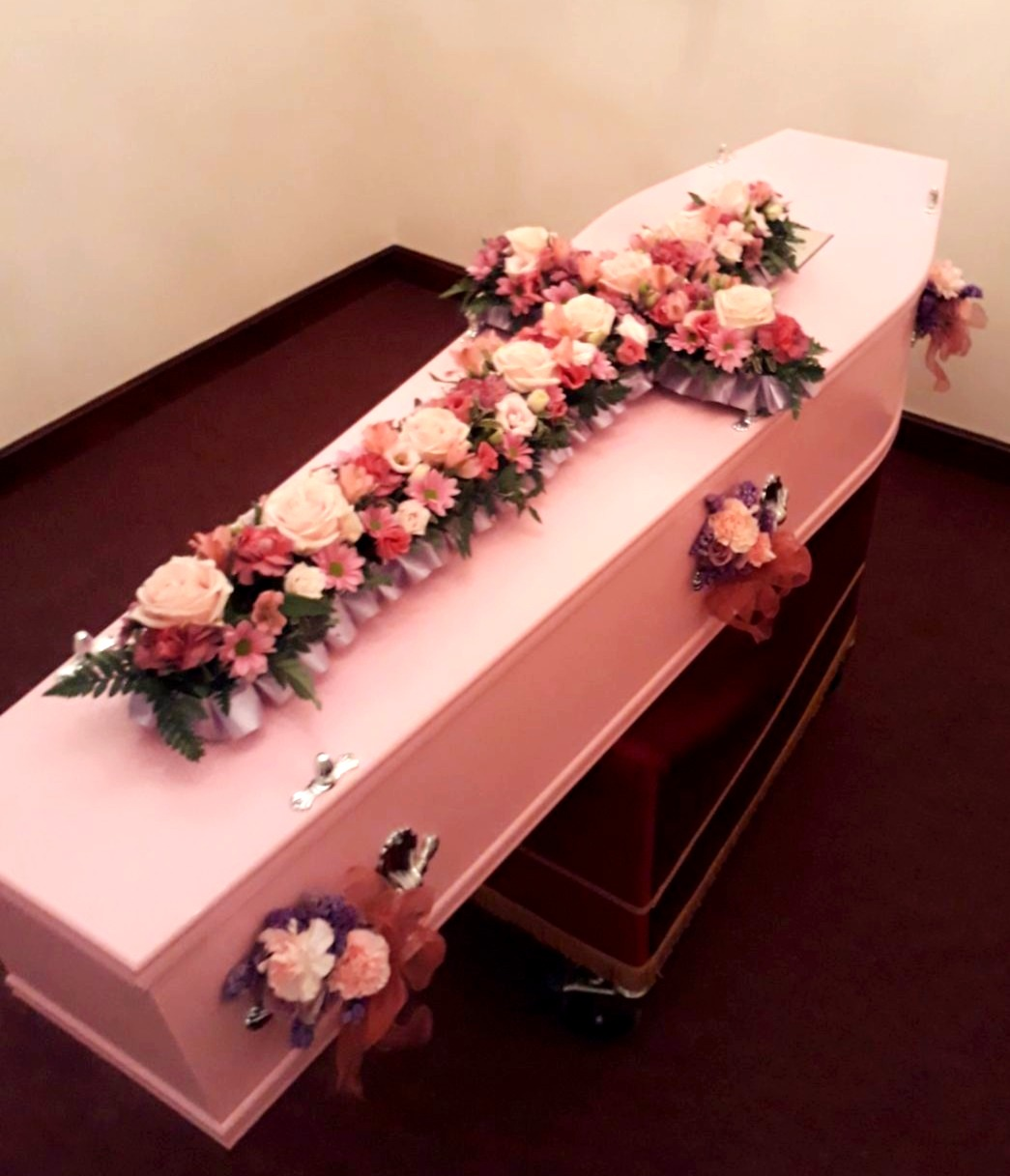 pink casket cross