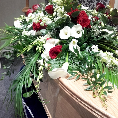 Dramatic Calla Lily and Roses Coffin Spray
