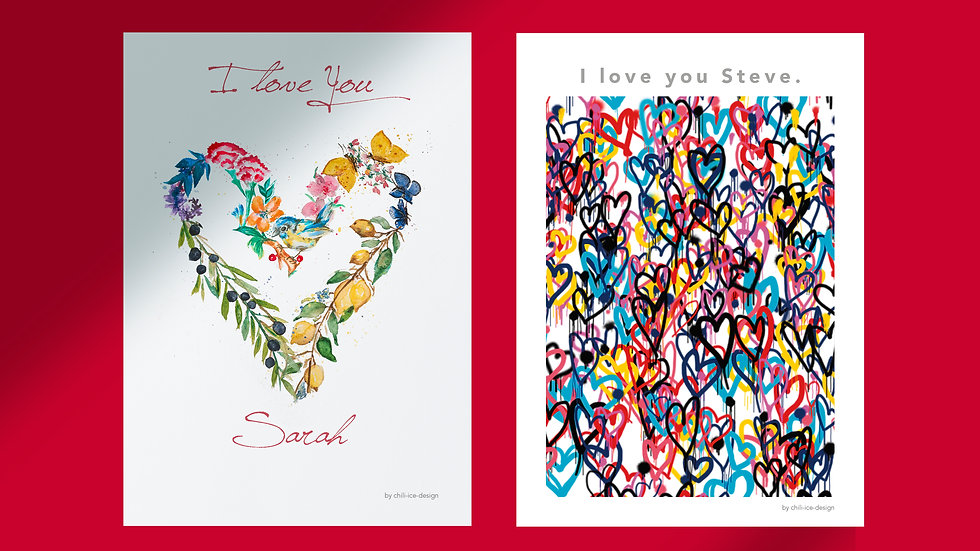Set of 2 Love Cards - Personalized