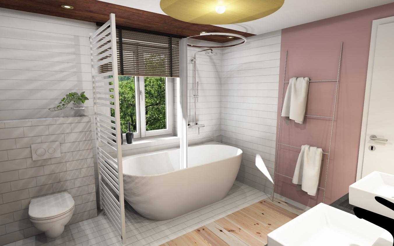 Salle de bain rose-Crochet Catherine architecture d'intérieur