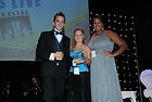 Accepting an event planner award in Houston from ISES
