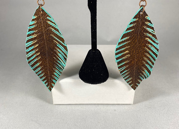 Vintage Rust & Turquoise Feather Earrings