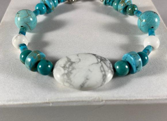 White Howlite & Turquoise Bracelet