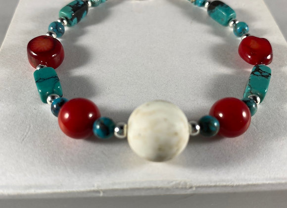 Turquoise & Red Coral Bracelet